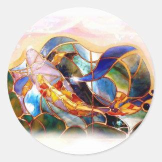 Glass Koi Fish Japanese Art Sticker Seal