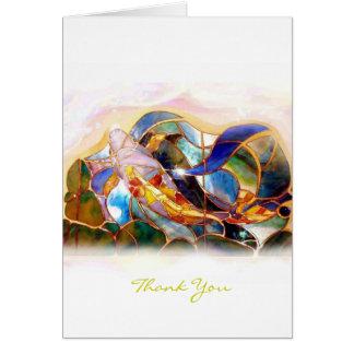Glass Koi Fish Thank You Greeting Card vertical