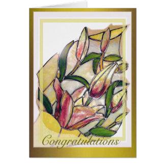 Glass Lily Bouquet Congratulations Card