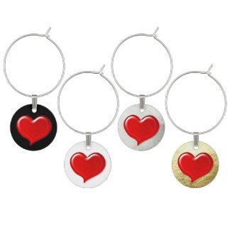 Glass Love Heart Design - Red Wine Glass Charm