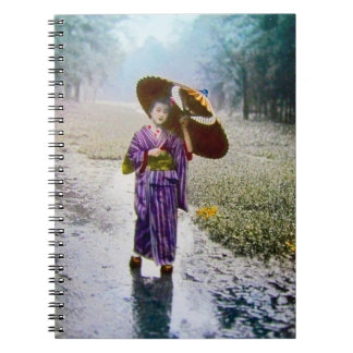 Glass Magic Lantern Slide A JAPANESE GIRL IN RAIN Notebook