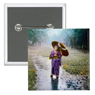 Glass Magic Lantern Slide A JAPANESE GIRL IN RAIN Pinback Button