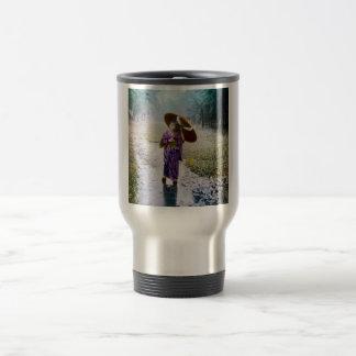 Glass Magic Lantern Slide A JAPANESE GIRL IN RAIN Travel Mug