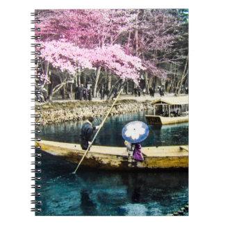Glass Magic Lantern Slide PICNIC BOATING GEISHA Notebook