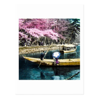 Glass Magic Lantern Slide PICNIC BOATING GEISHA Postcard