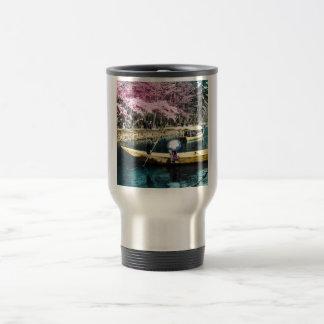 Glass Magic Lantern Slide PICNIC BOATING GEISHA Travel Mug