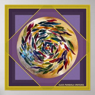 Glass Mandala Universe Purple Square Art Poster