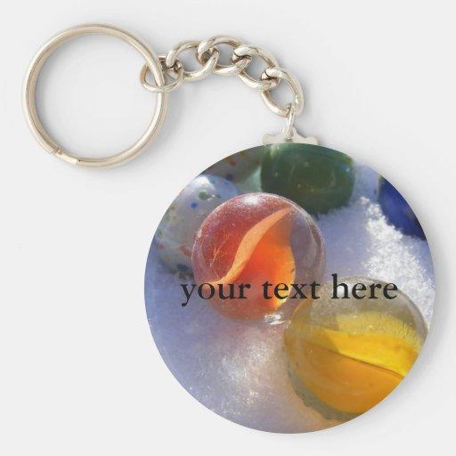 Glass Marbles Keyring Basic Round Button Keychain
