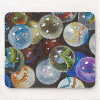 Glass Marbles: Realism Color Pencil Drawing Mouse Pad