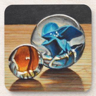 Glass Marbles Tiger Eyes Beverage Coaster