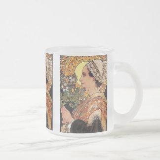 Glass Mug: Alphonse Mucha - Art Nouveau Frosted Glass Coffee Mug