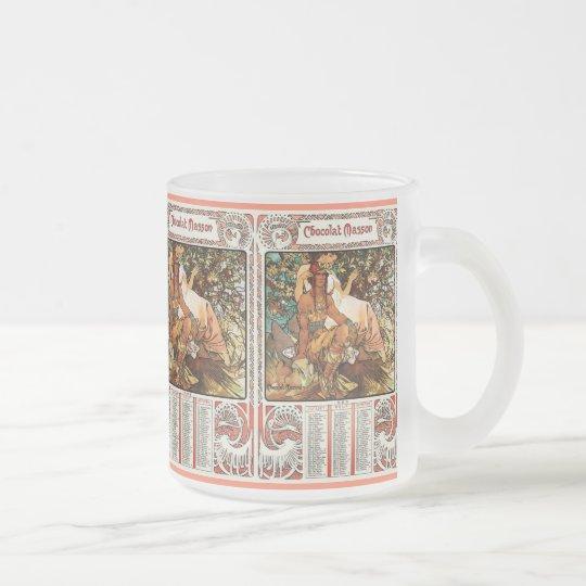 Glass Mug: Mucha - Art Nouveau Mug: Manhood Frosted Glass Coffee Mug