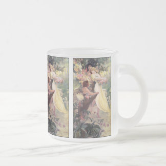 Glass Mug:  Mucha - Spirit of Spring Frosted Glass Coffee Mug