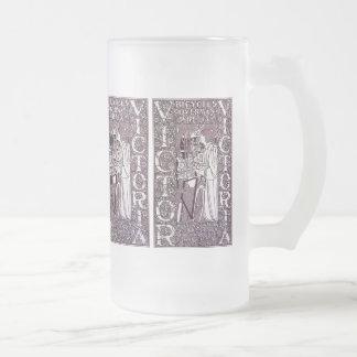 Glass Mug: Victor, Victoria Bicycles Frosted Glass Beer Mug