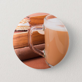 Glass mug with hot chocolate and biscuits pinback button