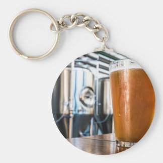 Glass of Beer at Microbrewery Basic Round Button Keychain