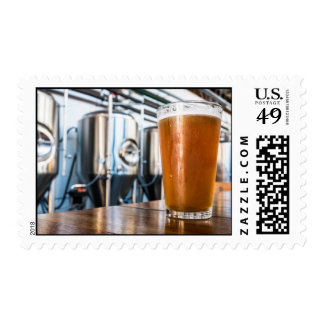 Glass of Beer at Microbrewery Postage Stamp