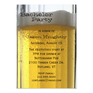 Glass of Beer Bachelor Party Invitation