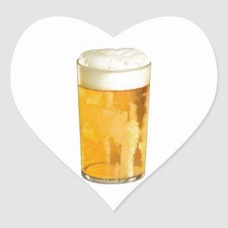 Glass of Beer Heart Sticker
