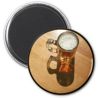 Glass of Beer on Table 2 Inch Round Magnet