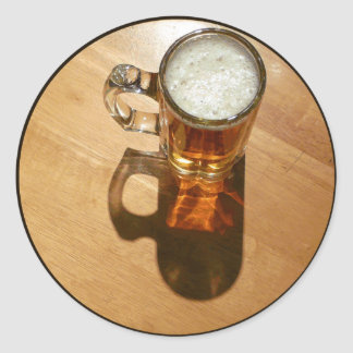 Glass of Beer on Table Classic Round Sticker