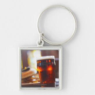 Glass of beer Silver-Colored square keychain