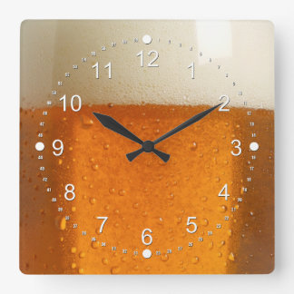 Glass of Beer Square Wall Clock