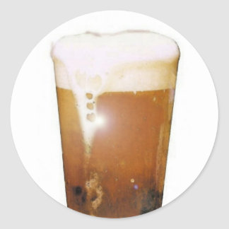 Glass of Beer with Foam Classic Round Sticker