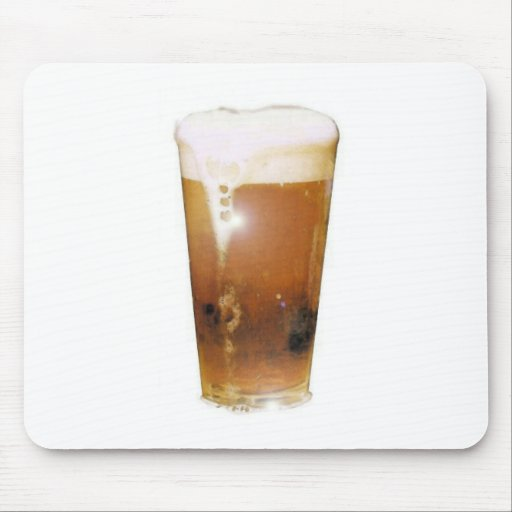 Glass of Beer with Foam Mouse Pad