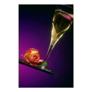 Glass of champagne and flower flowers poster