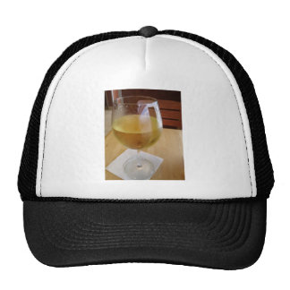 Glass of chilled wine mesh hats