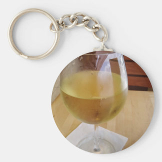 Glass of chilled wine keychains