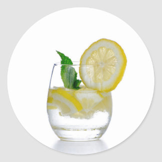 Glass of fresh cool tonic classic round sticker
