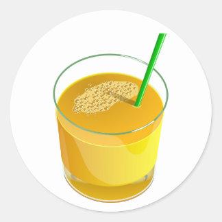 Glass Of Juice Stickers Round Sticker