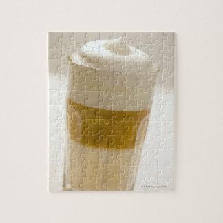 Glass of latte macchiato, close up jigsaw puzzle