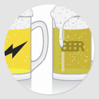 Glass of light beer classic round sticker