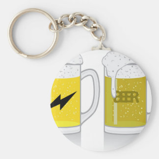 Glass of light beer keychain