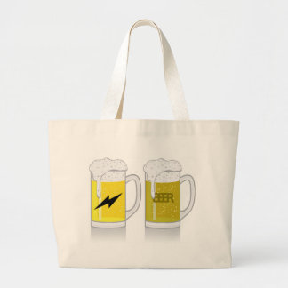Glass of light beer large tote bag