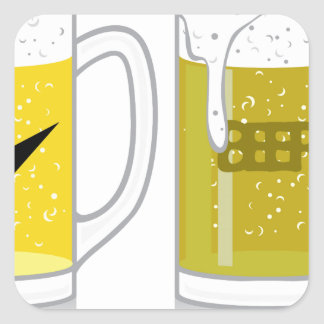 Glass of light beer square sticker