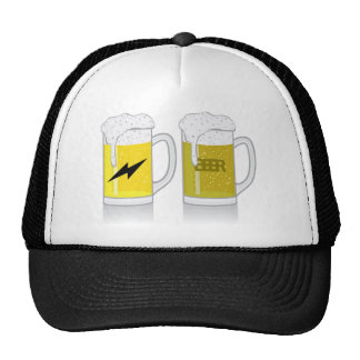Glass of light beer trucker hat