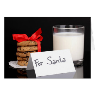 Glass of milk and cookies card