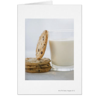 Glass of milk and cookies, close-up card
