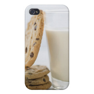 Glass of milk and cookies, close-up iPhone 4/4S covers