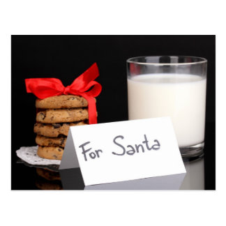 Glass of milk and cookies postcard