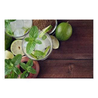 glass of mojito cocktail poster