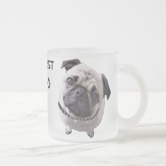 "Glass of ""pug "" frosted glass coffee mug"