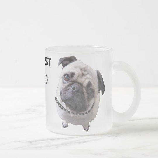 "Glass of ""pug "" frosted glass coffee mug"