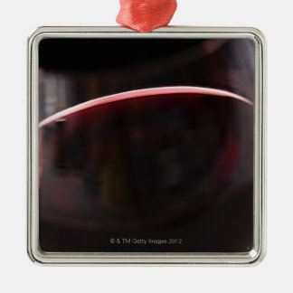 Glass of red wine metal ornament