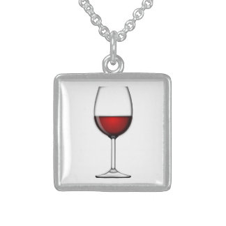 GLASS OF RED WINE STERLING SILVER NECKLACE