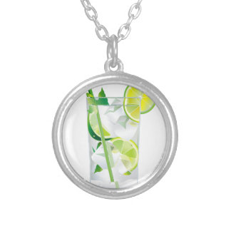 Glass of Refreshing Cocktail Mix Silver Plated Necklace